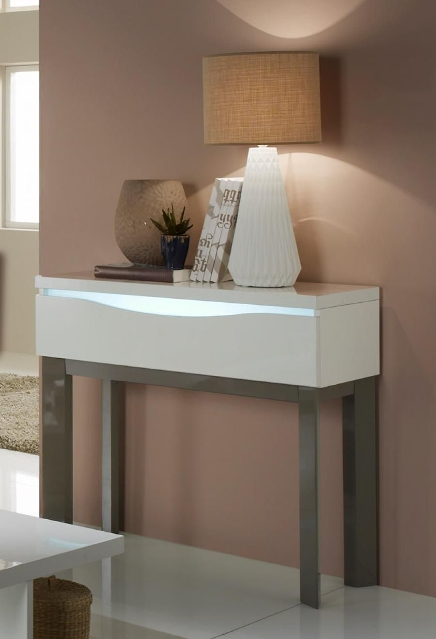 alina contemporary console table in white high gloss and wood finish legs integral lights. Black Bedroom Furniture Sets. Home Design Ideas