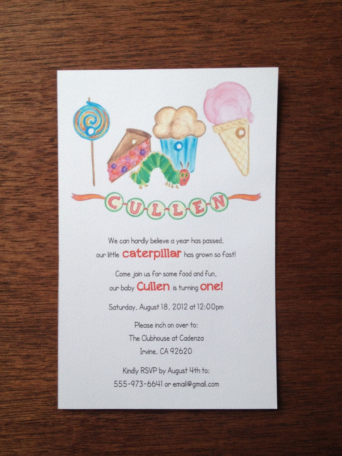 Hungry Caterpillar Birthday Invitation. $2.50, via Etsy. | Eth\'s ...