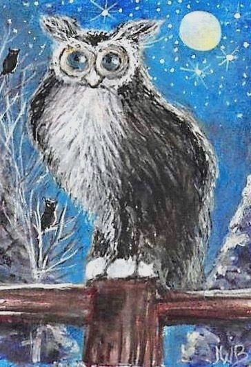 NFAC January Original W/C ACEO Painting, Fence, Owls, Mask Long Hair Cat Moon #IllustrationArt
