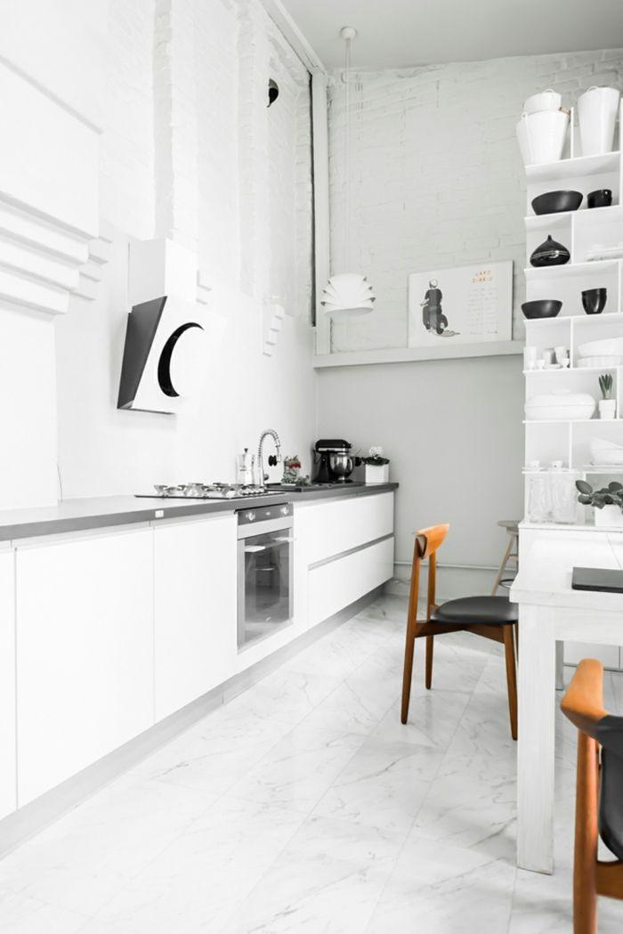 weiße küche ausgefallener bodenbelag und schwarze akzente Küche - bodenbeläge für küche