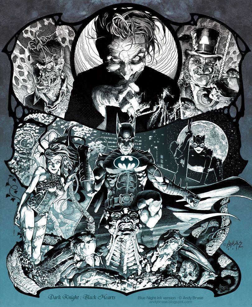 Dark Knight Black Hearts By Andybrase On Deviantart Batman Canvas Art Batman Canvas Comic Art