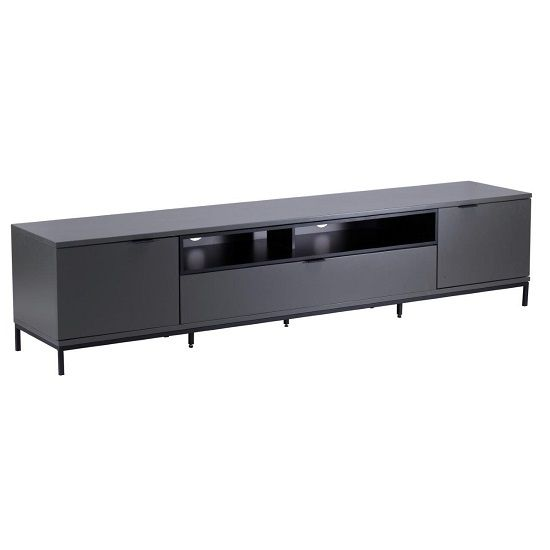 Nelson TV Cabinet In Matt Charcoal Grey And Black Wooden TV