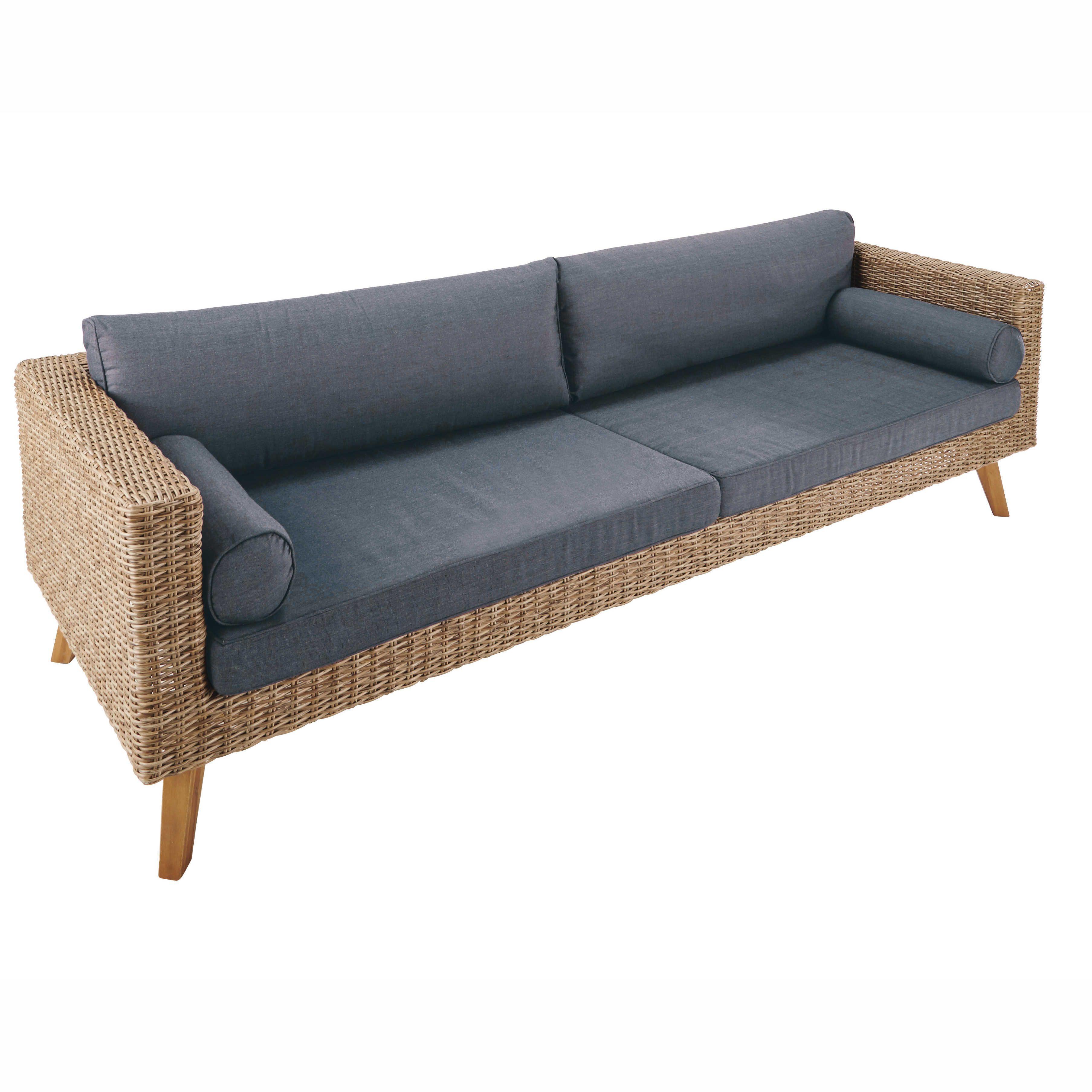 Canapé de jardin 3 4 places en résine tressée et toile anthracite