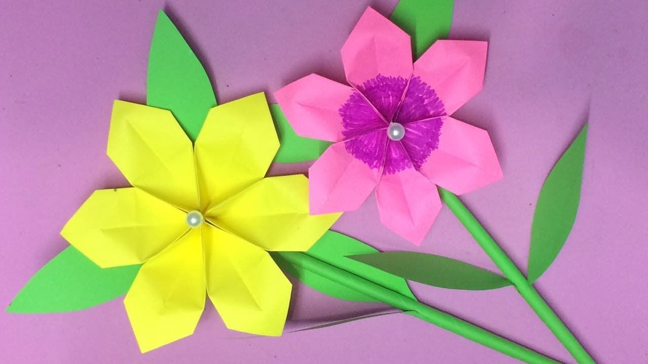 How To Make Origami Flower With Paper Making Paper Flowers Step By