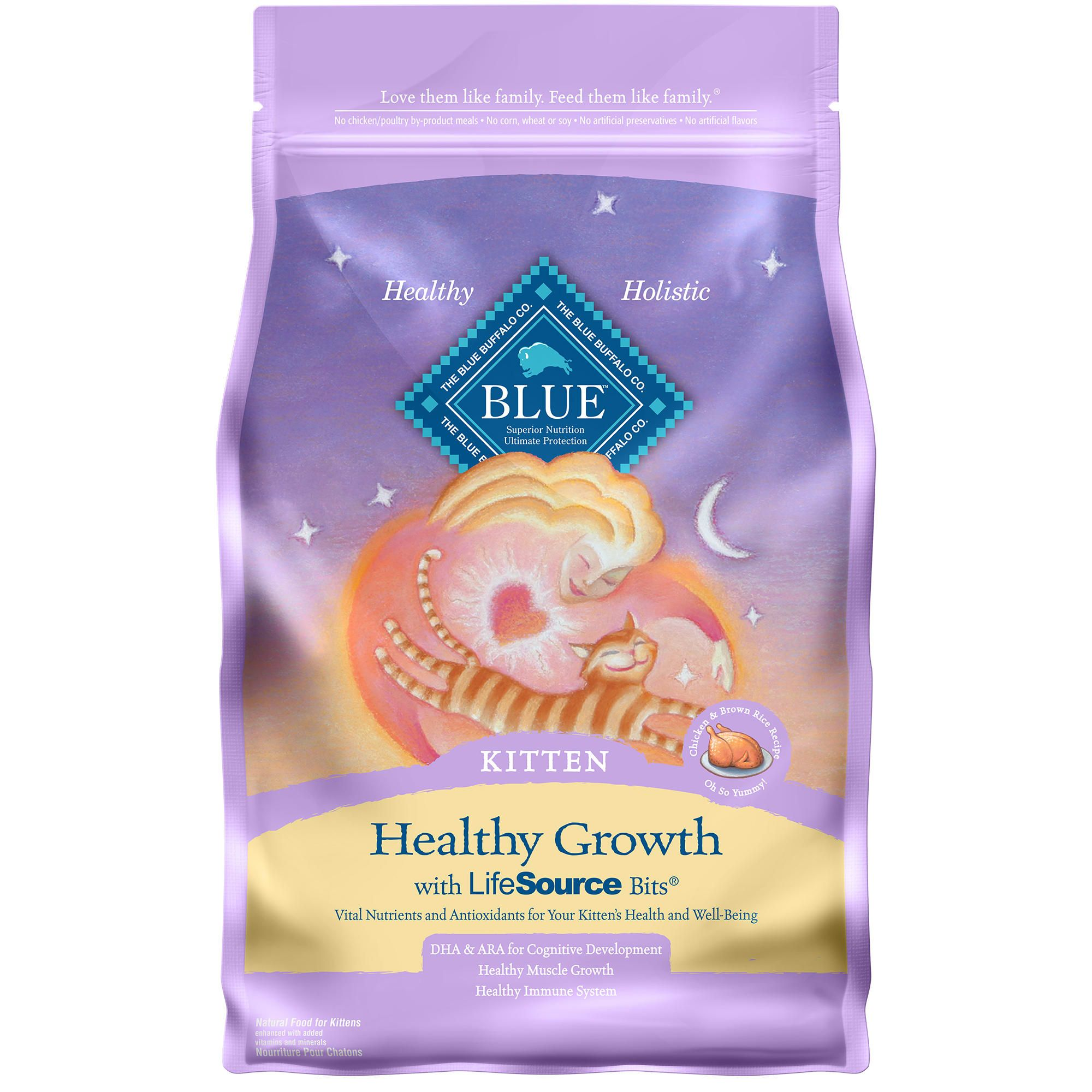 Blue Buffalo Healthy Growth Natural Kitten Chicken Brown Rice Dry Cat Food 7 Lbs Petco In 2020 Chicken And Brown Rice Dry Cat Food Sensitive Stomach Cat Food