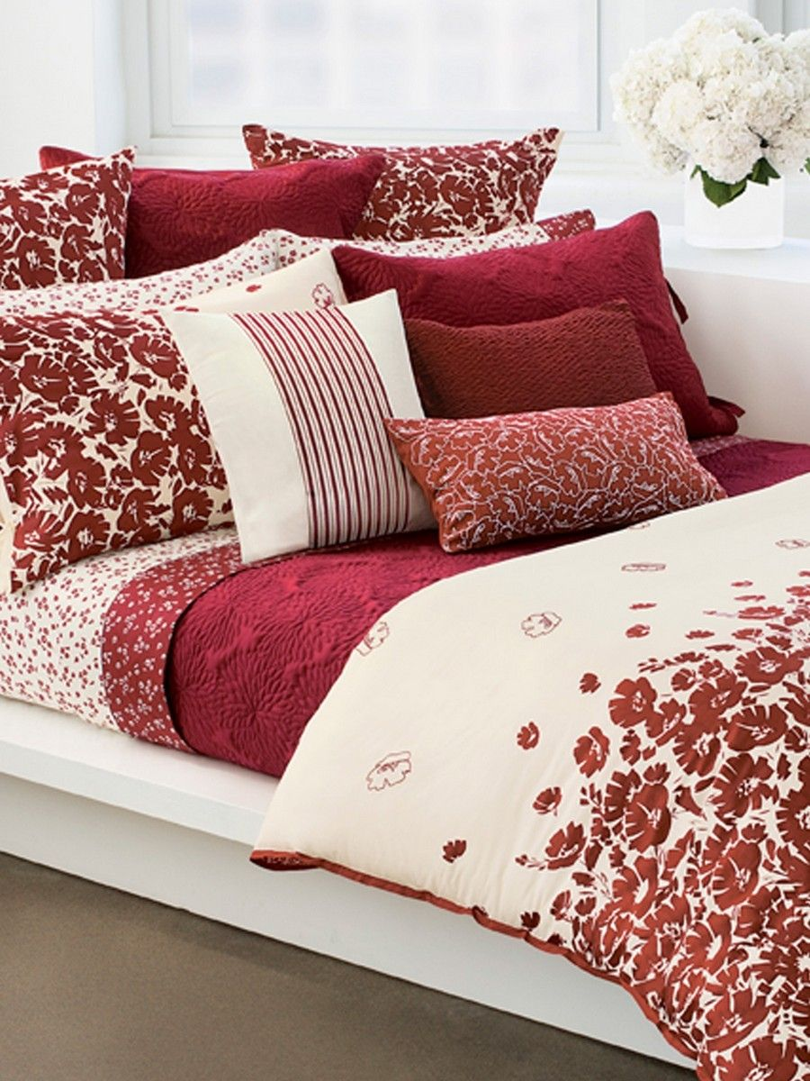 Silk Glossary Red rooms, Red bedding, Bed