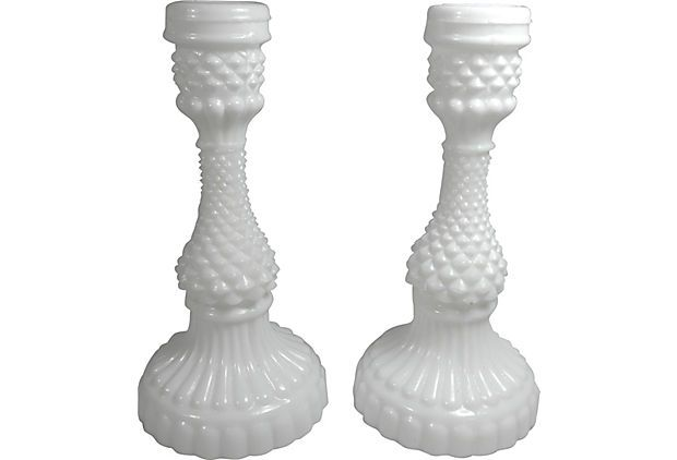Milk-Glass Candlesticks, Pair on OneKingsLane.com/shop/retroda