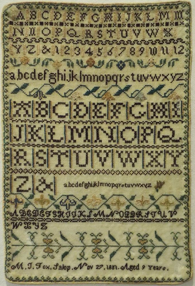 Small Mid 19th Century Alphabet Sampler By M J Fox Aged 9 1851 Antique Samplers Samplers Needlepoint Patterns