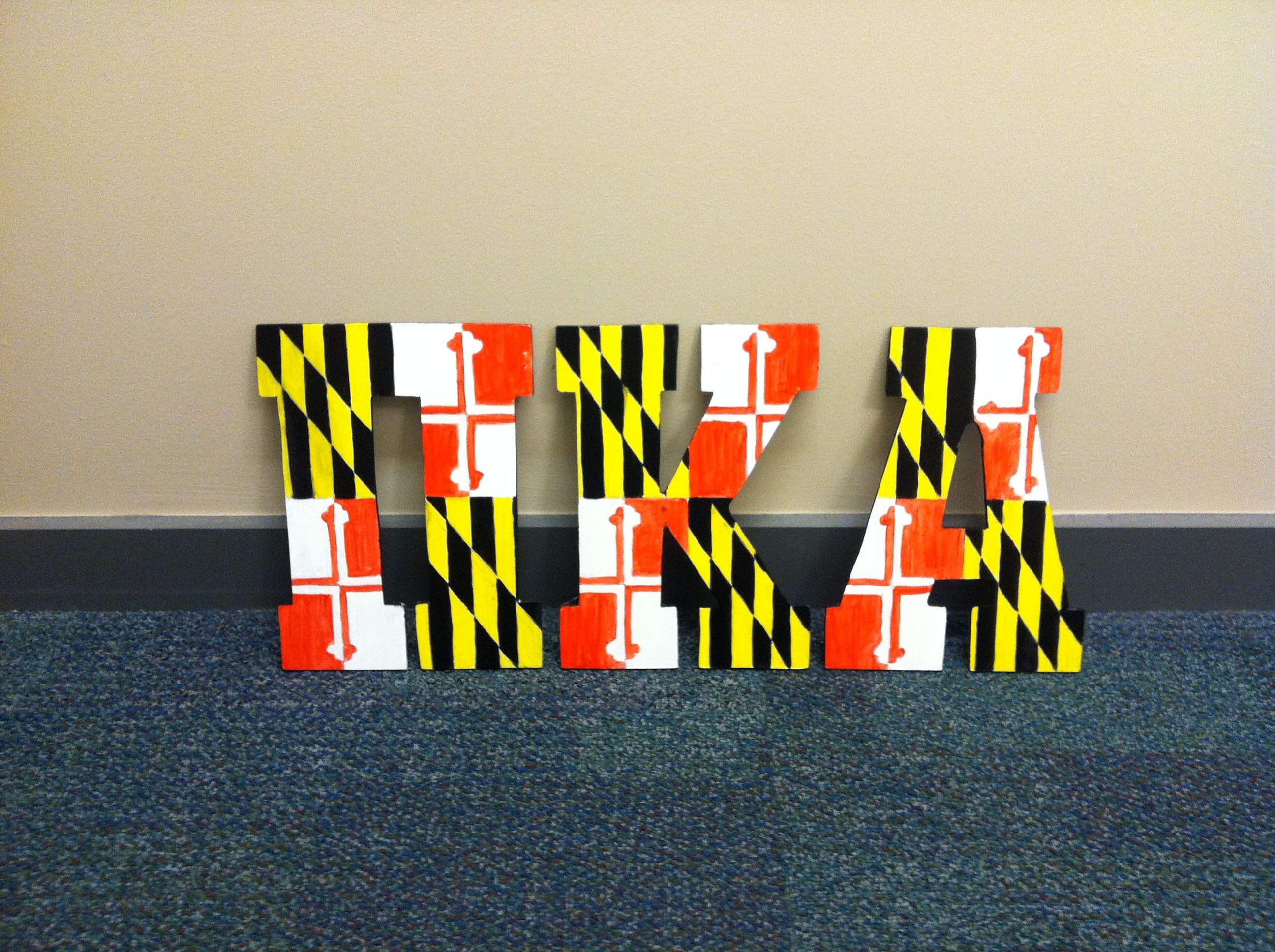 pi kappa alpha maryland flag letters painted myself crafts by coffey