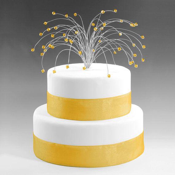 Wedding Cake Topper Spray SIlver with Topaz Swarovski Crystal ...