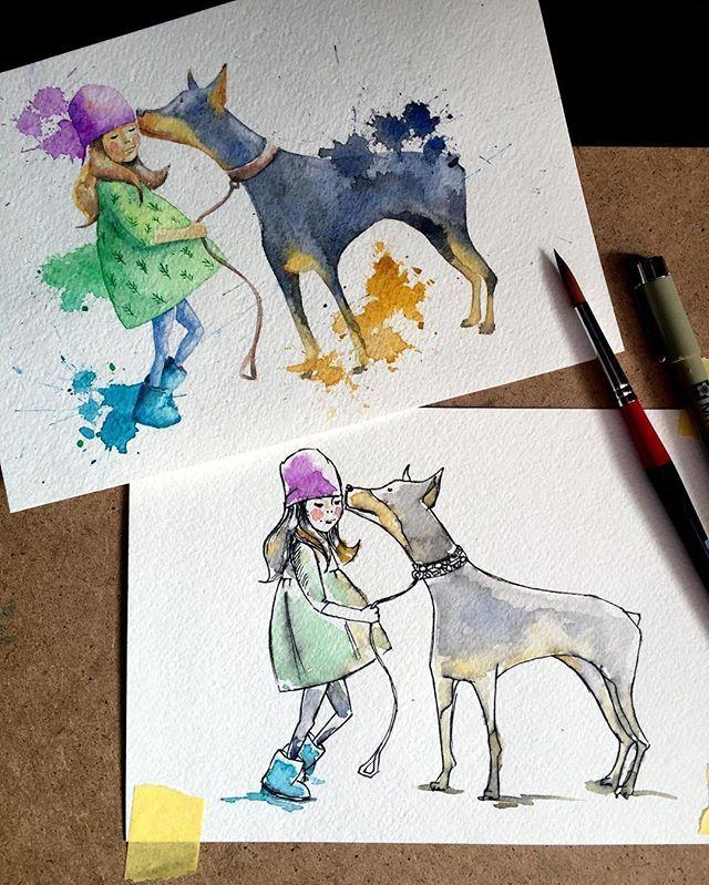 """""""Разве можно прожить всю жизнь вот так, без собаки?"""" Малыш, """"Карлсон, который живёт на крыше""""  #artpavo #aquarelle #watercolor #illustration #art #dog #doberman"""