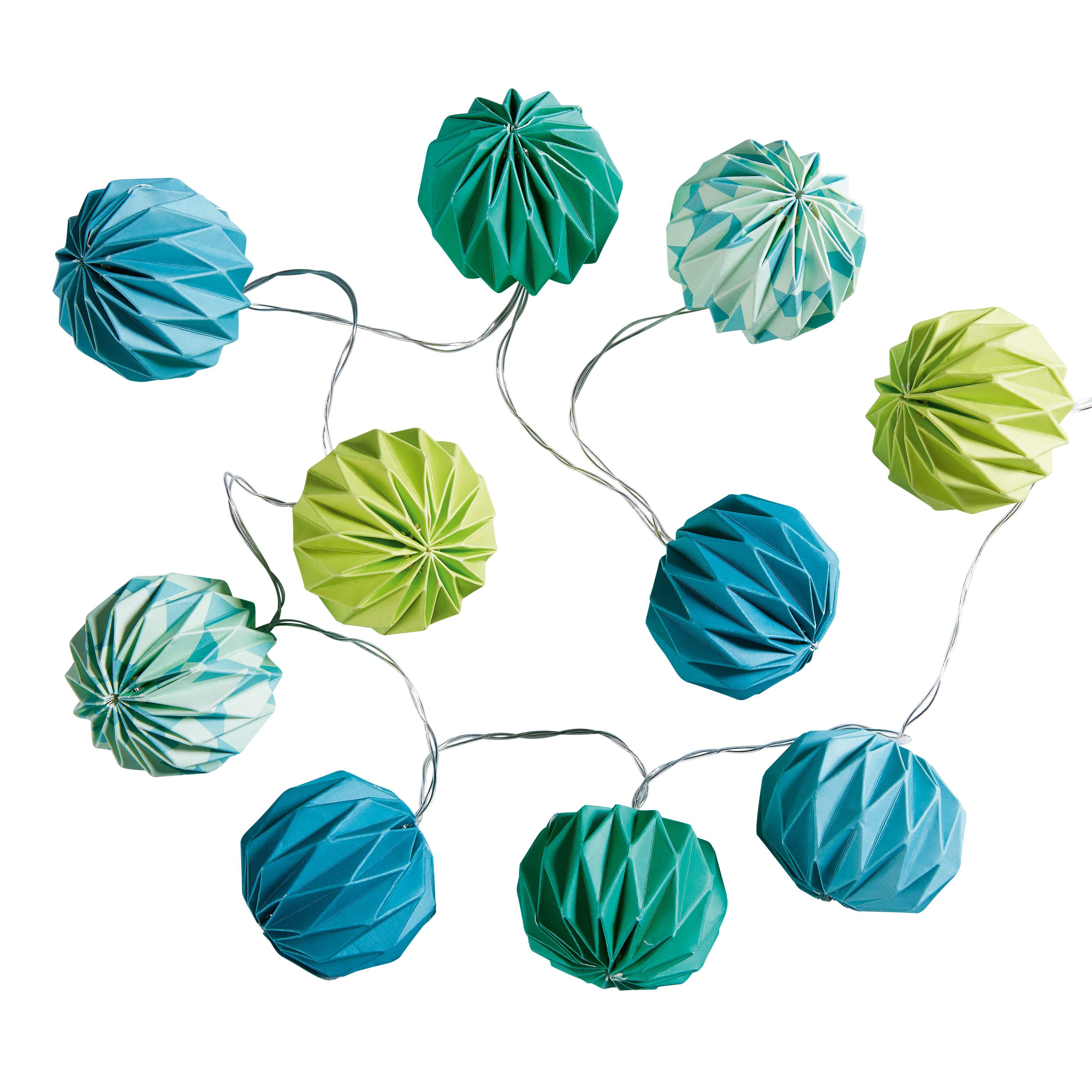 Guirlande lumineuse en papier bleu vert L 135 cm