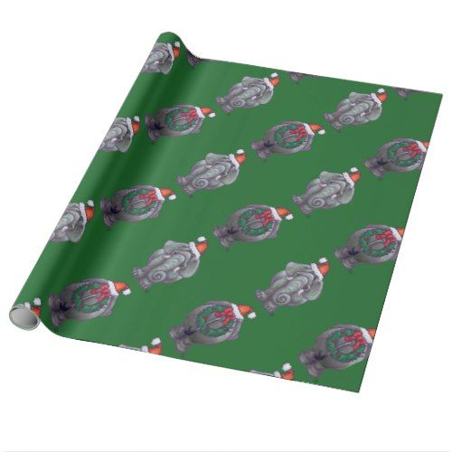 elephant heads and tails pattern christmas wrapping paper