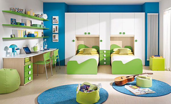 Bedroom Design, Aquamarine Boys Room Decor With Round Blue Carpet, Wall  Shelves And Computer Desk Also Green Chair: Amazing Boy Rooms Decora.