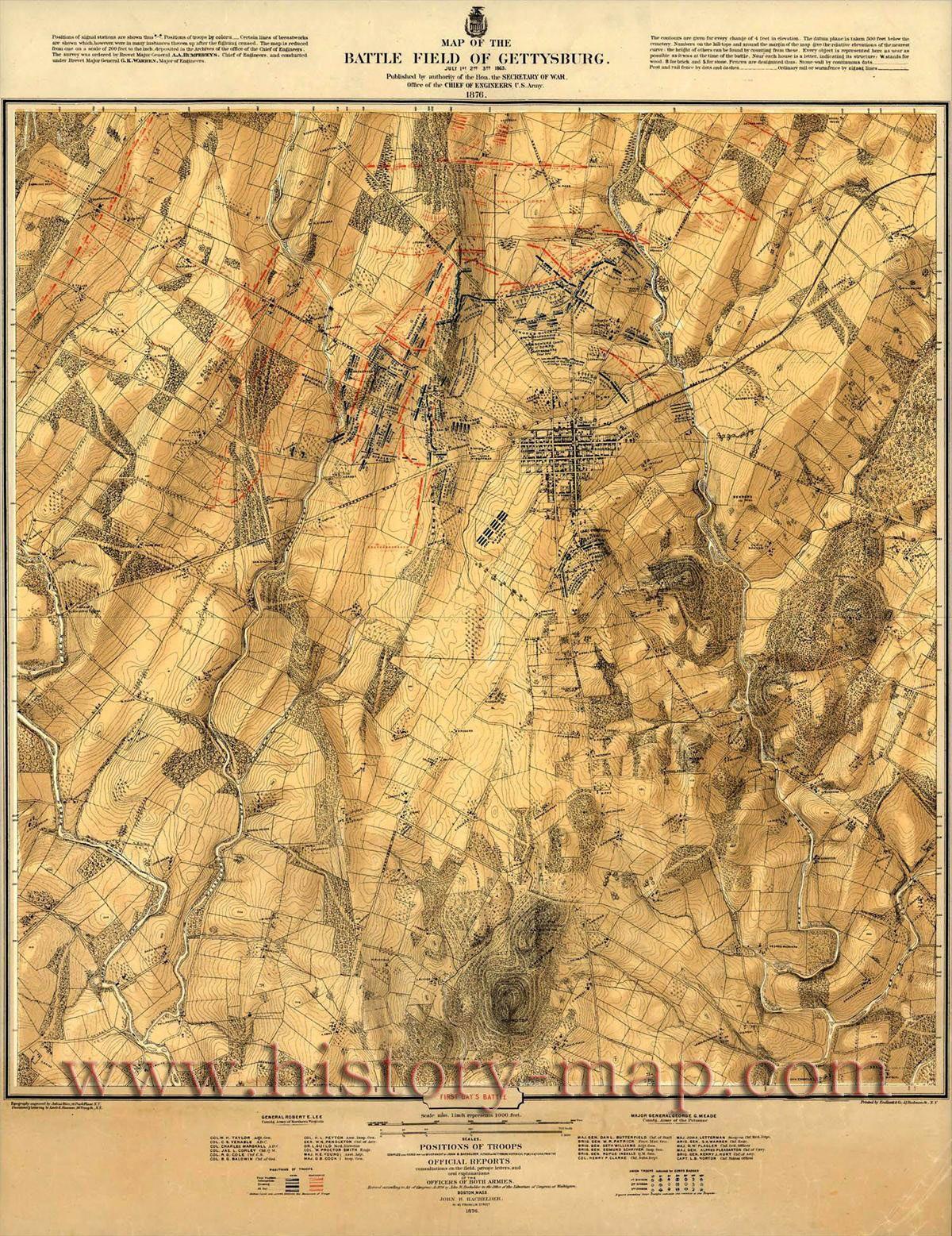 Battle of Gettysburg Map Gettysburg PA