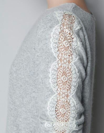 Cut out section of sleeve and cover with lace to revamp an old shirt-