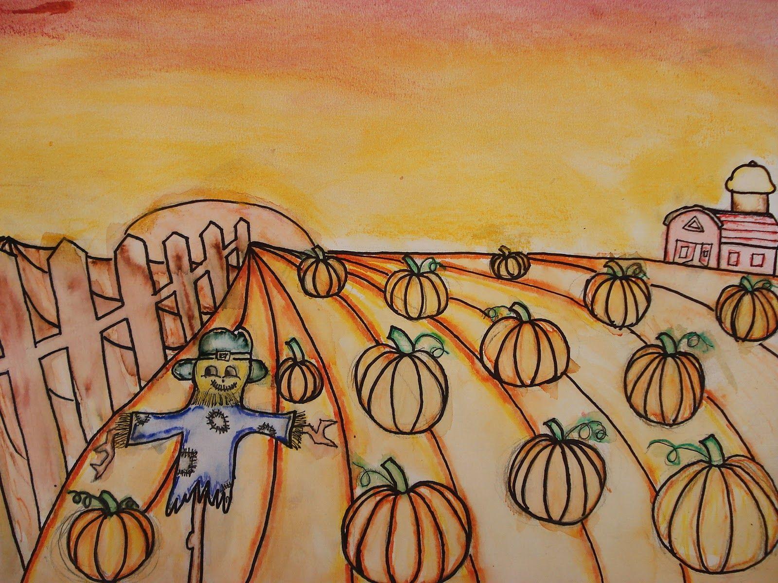 Faithful Attempt One Point Perspective Pumpkin Patch Landscape