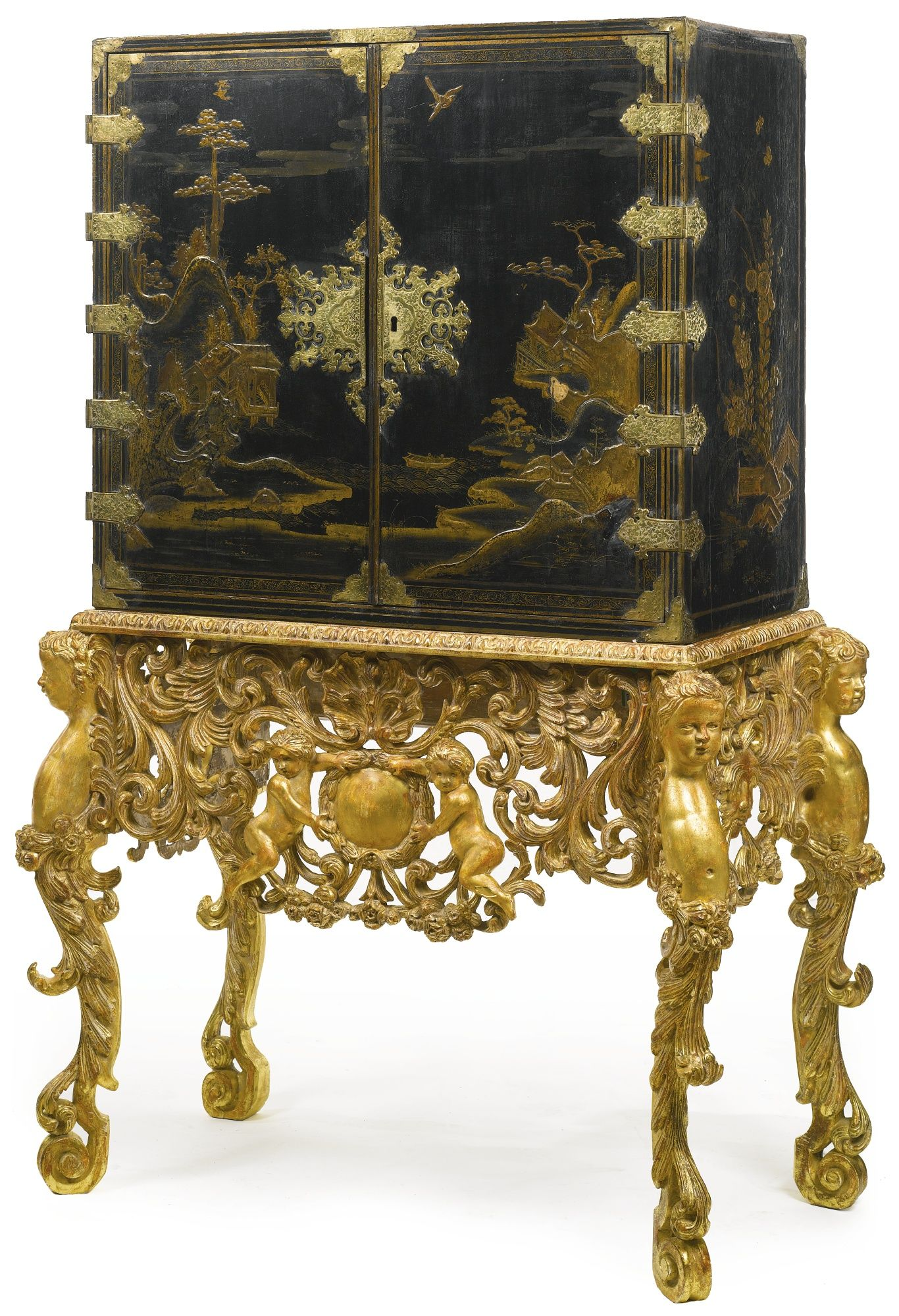 A WILLIAM AND MARY PARCEL GILT BLACK JAPANNED CABINET ON LATER
