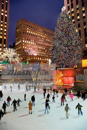 ice skating and christmas tree at rockefeller center new york city new york usa