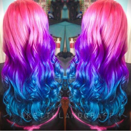 Pink Purple Blue Dyed Hair Color Vividartistichairdesign Hair Dye Colors Hair Styles Hair Color Purple
