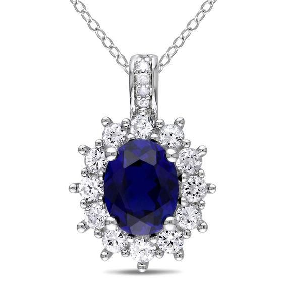 Zales Oval Lab-Created Opal and White Sapphire Sunburst Frame Pendant in Sterling Silver JlstXfrM