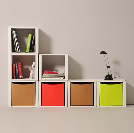 #Cube - #modular #component - #bookcase #design - A tiny squared white module available with a pull-out shelf. Be original and express yourself with the thousand combinations you can create. Finish it with Wavebox element. - http://eco-and-you.com/en/shop/cube/
