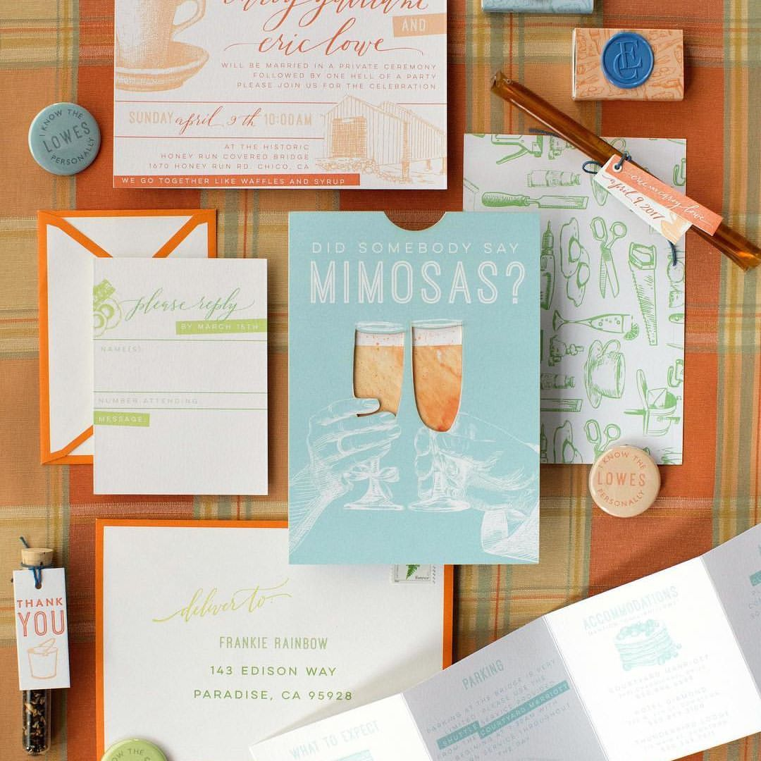 Guests Opened Orange Seamed Envelopes To Find A Laser Cut Pocket