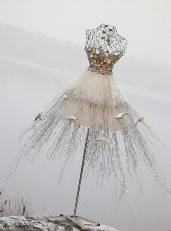 dress form in the snow