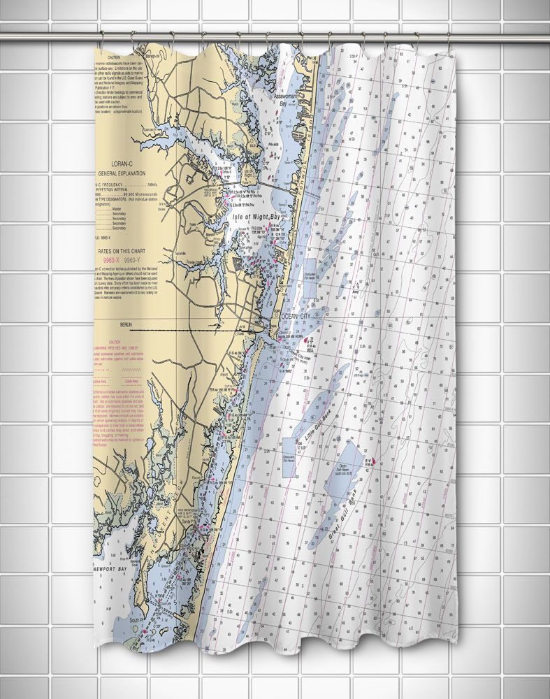 Md Ocean City Md Nautical Chart Shower Curtain Ocean City Curtains Nautical Shower Curtains