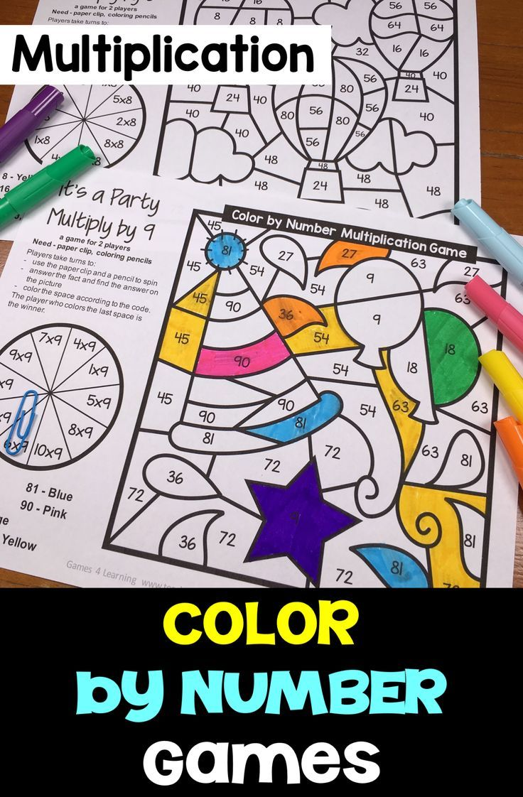 Color By Number Multiplication Games For 2 Players Games For Multiplication Facts Math Coloring Math For Kids Multiplication