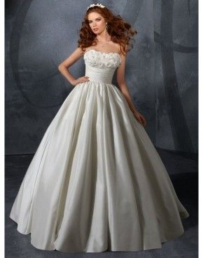 White ball gown strapless cathedral train wedding dress with hand made flower US$348.70