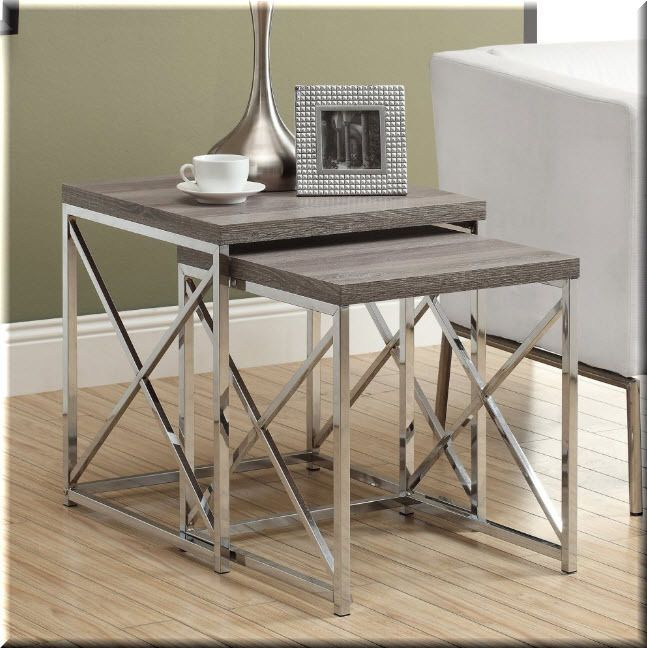 nesting end tables living room. Details about Nesting End Tables 2 Piece Metal Wood Dark Taupe Chrome Living  Room Furniture