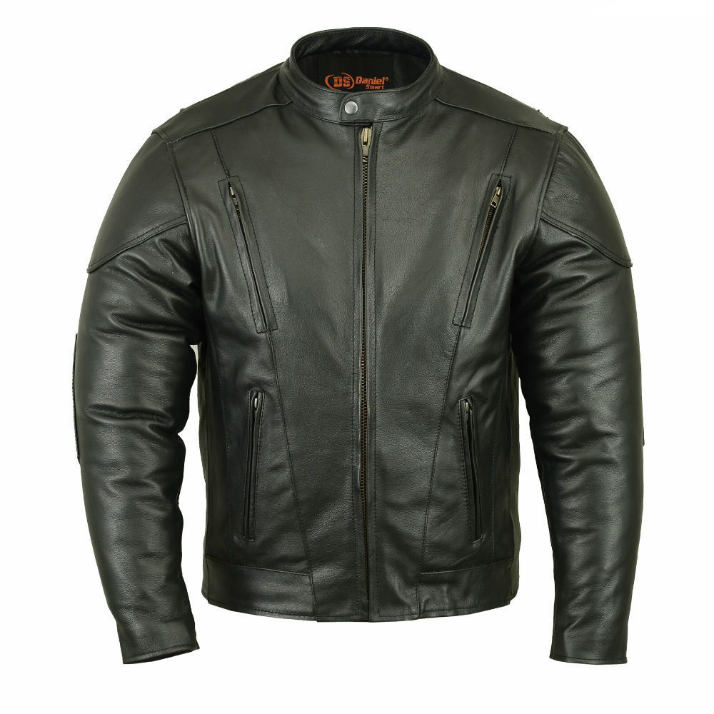 M/C Jacket in Soft Milled Cowhide 1.3 - 1.4 mm. Euro Collar. Padded kidney belt. Plain Sides. Front and back channel venting system to distribute airflow to cool the core body temperature. Action back