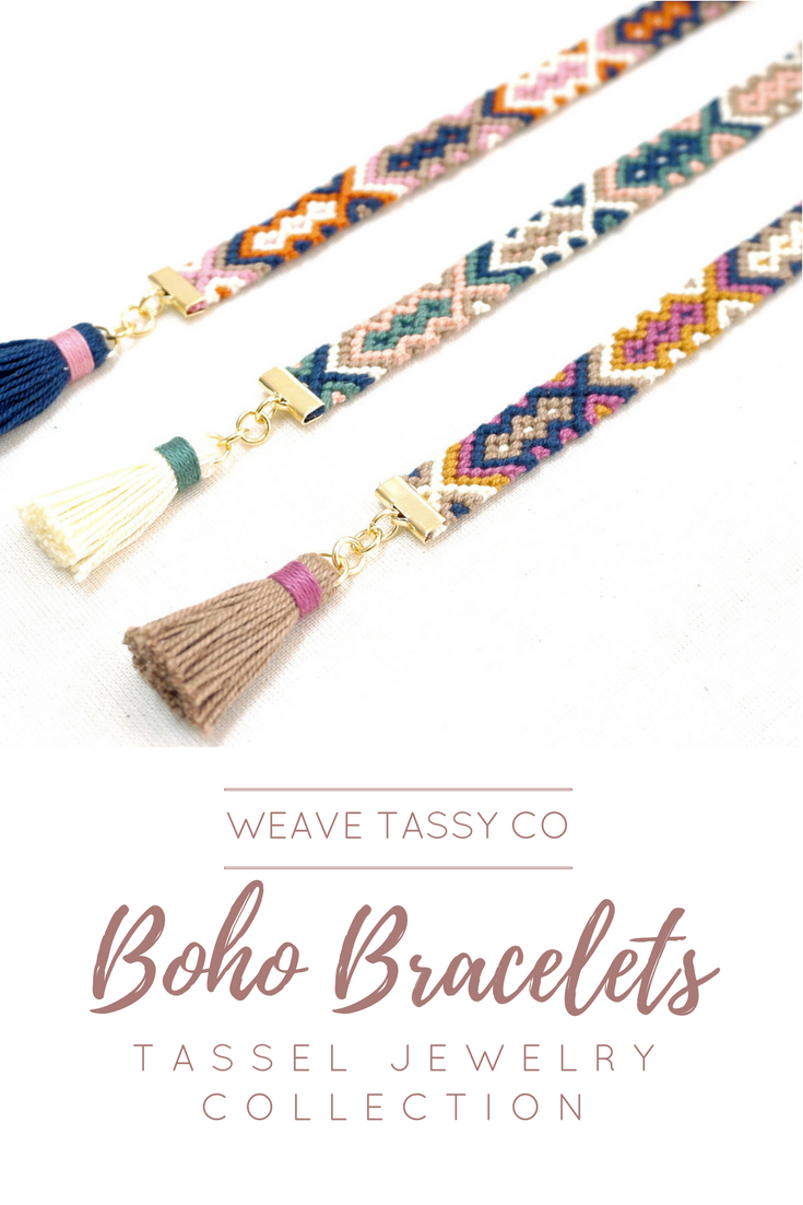 Boho Tassel Bracelets by @WeaveTassyCo | These boho ethnic bracelets are the perfect addition to your boho jewelry collection. They are perfect for layering with other stacking bracelets.   They are woven friendship bracelets with tassel. These make a great gift for your best friend, sister, mom or girlfriend! Wear matching bracelets with your best buds! Visit our page to see more.