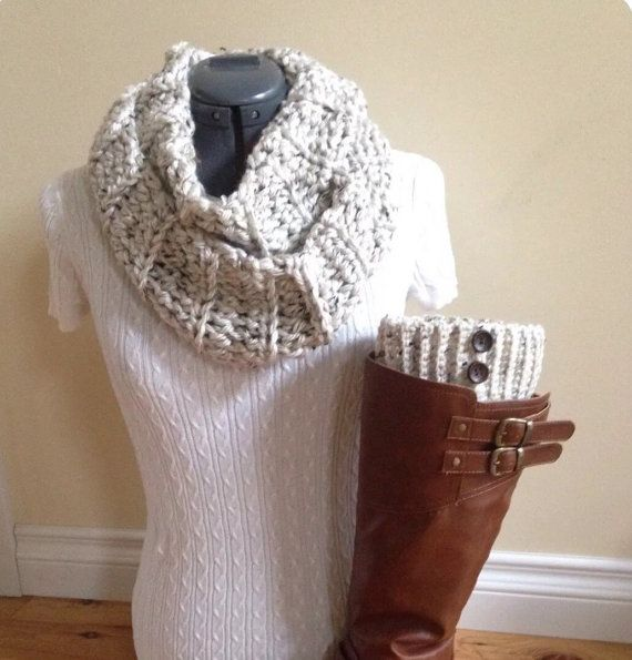Boot cuff set with infinity scarf  Snowy by GrindleHillFineGoods