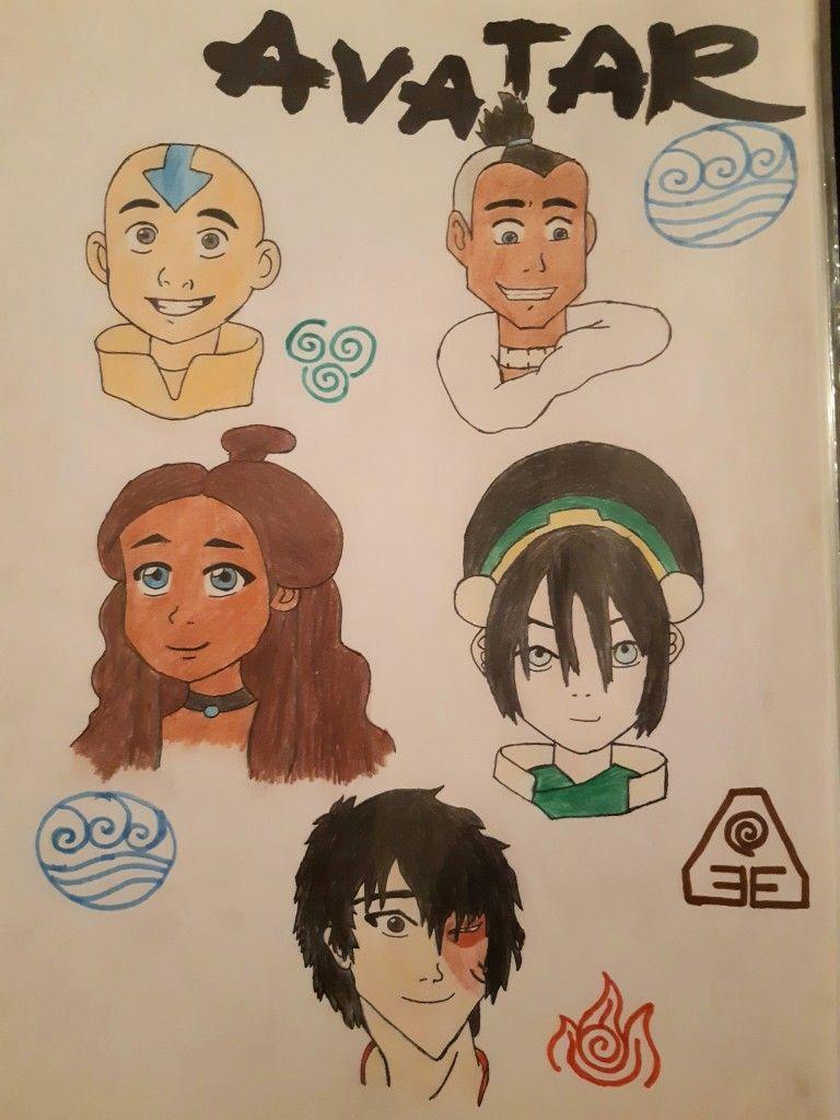 Avatar Leyendadeaang Thelastairbender Gaang Equipo Avatar Aang Katara Toph Zuko Sokka Dibujos Drawings In 2020 Avatar Theme Easy Drawings Avatar Airbender