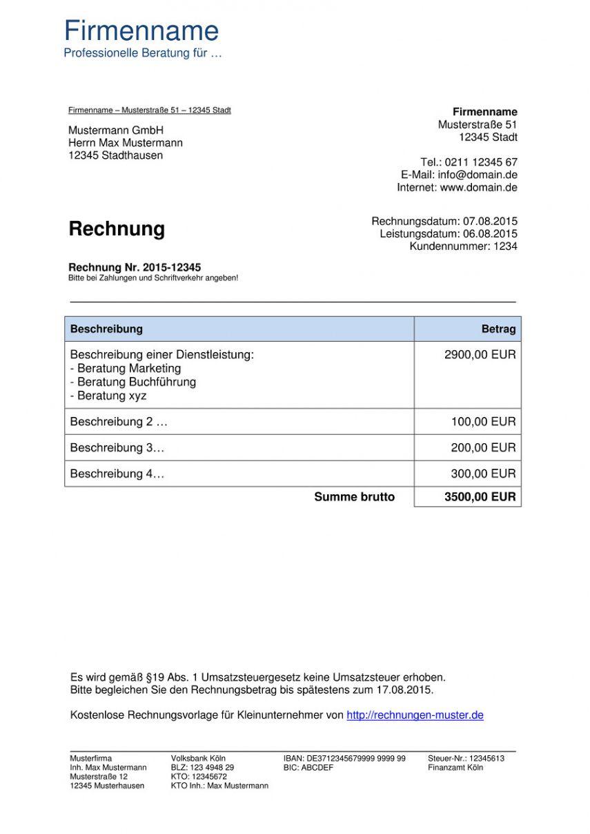 Scrollen Unsere Das Image Von Rechnung Kleingewerbe Ohne Umsatzsteuer Vorlage In 2020 Rechnung Vorlage Rechnungsvorlage Vorlagen