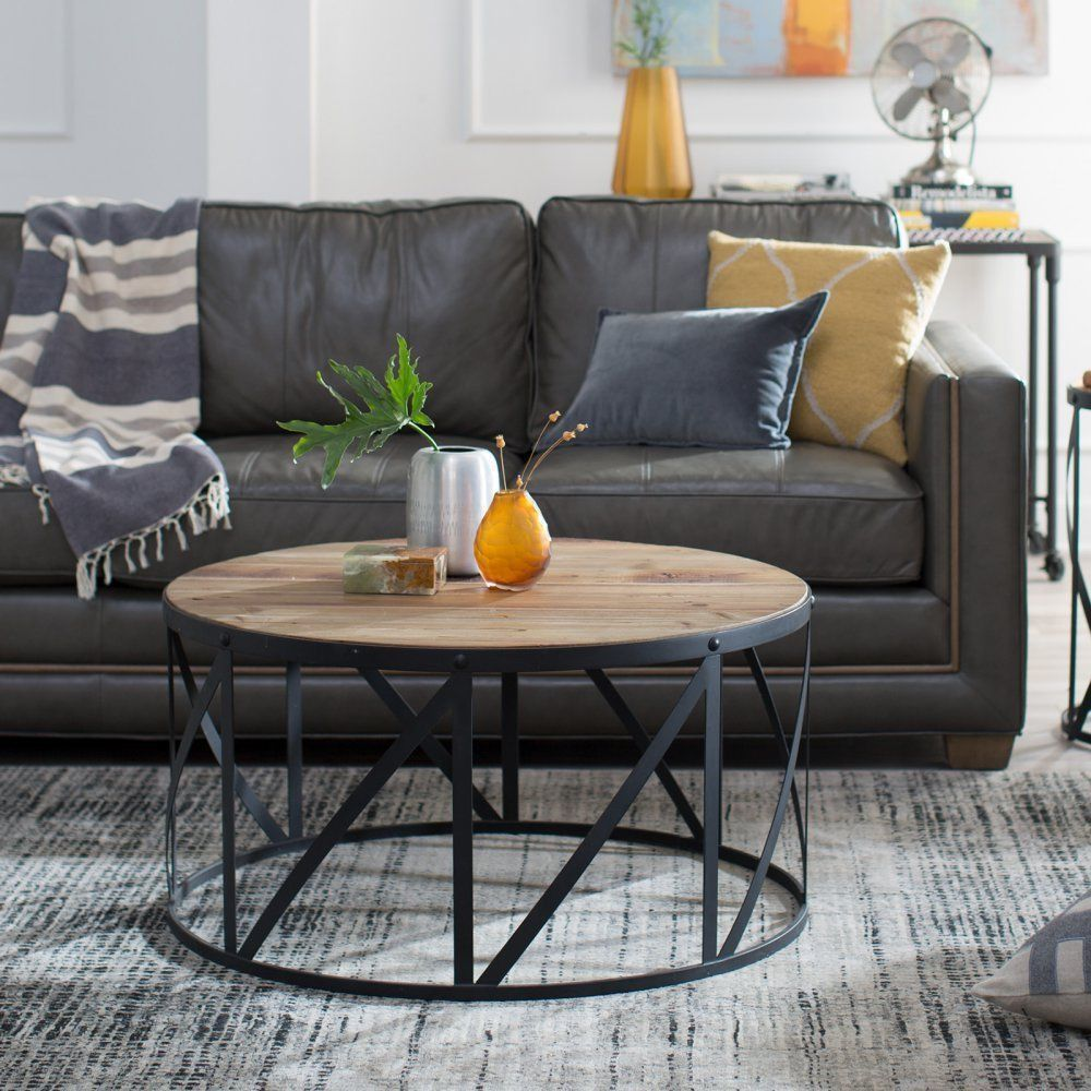 Coffee Table Steel Frame Dark Finish Furniture Living Room Reclaimed Wood Drum Coffee Table Coffee Table Steel Frame Coffee Table Wood [ 1000 x 1000 Pixel ]