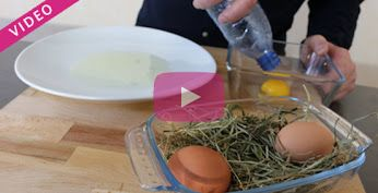Séparer le jaune d'oeuf du blanc avec une bouteille