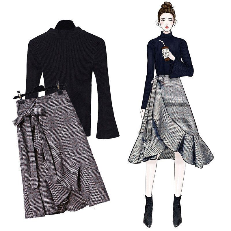 55.69US $  JOYINPARTY Fashion Sweater 2 Piece Women outfits High Collar Elastic Warm Sweater Pullover + Plaid Skirt Women's Sweater Set Women's Sets    - AliExpress