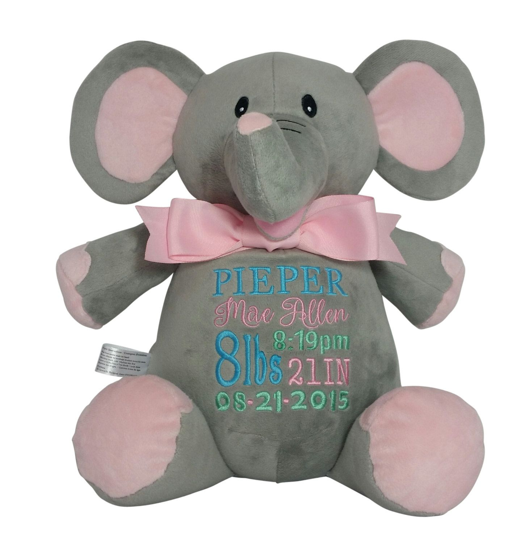 Personalized pink elephant baby gift custom embroidery birth personalized pink elephant baby gift custom embroidery birth stats plush animal child negle Choice Image