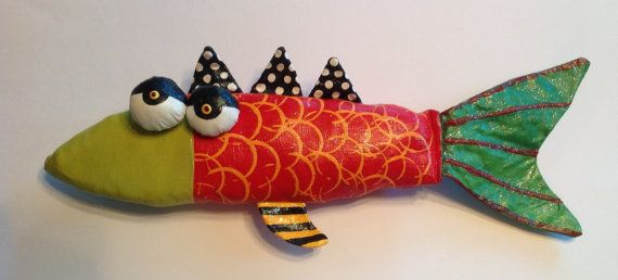 Soft Sculpture Funky Red Fish by jodieflowers on Etsy