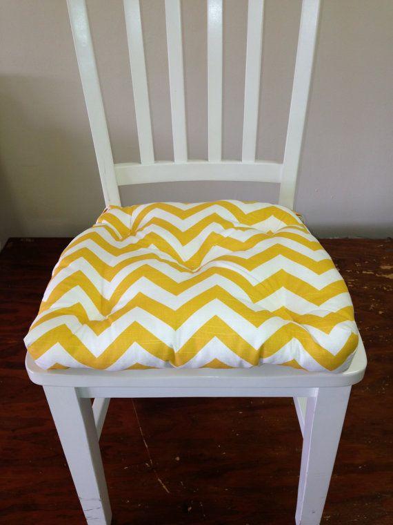 Set Of 4 Tufted Chair Pad, Seat Cushion, Zig Zag, Chevron, Yellow