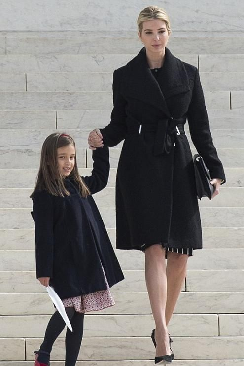 Ivanka Trump wearing Ivanka Trump Wrap Coat in Black
