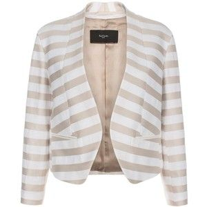 Paul Smith Neutral Stripe Collarless Cotton Jacket