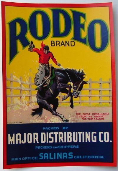 1930S COWBOY STOCK VEGETABLE LABEL HORSE VINTAGE TEXAS WESTERN RODEO ORIGINAL