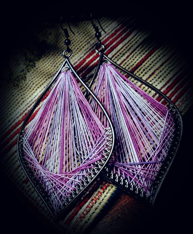 """Thread Earrings Gradient Purple 3"""" Dangle by ..."""