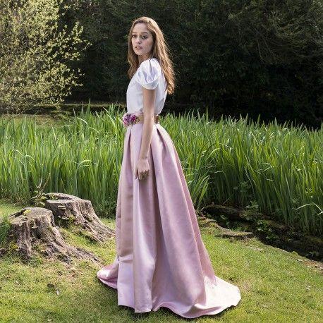 179543be19 falda mikado rosa maquillaje larga con bolsillos para bodas y eventos