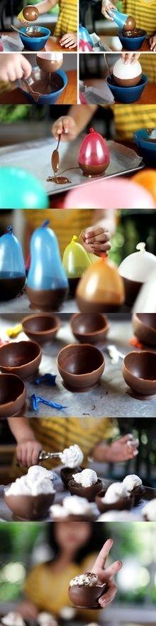 Chocolate ice cream bowls