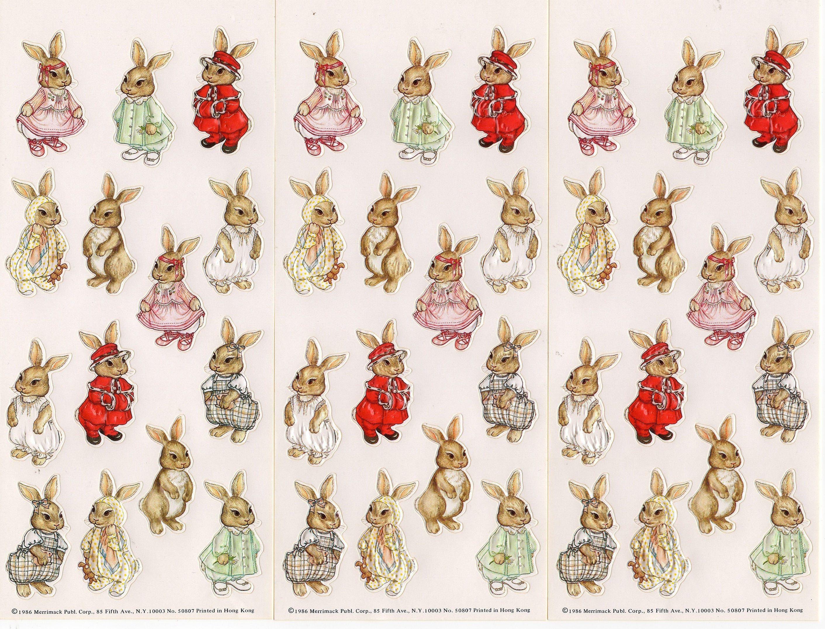 Vintage 1986 Merrimack Publishing Stickers Old Fashion Rabbit Bunny Family Embossed Stickers In 2020 Vintage Etsy Merrimack